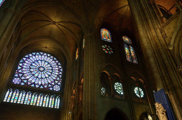 Photograph - Nord Rose Window, Vaults And Stained Glass Windows In Notre Dame Before The Fire Of 2019 by RicardMN Photography