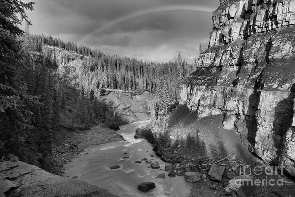 Photograph - Nordegg Bighorn Canyon Rainbow Black And White by Adam Jewell