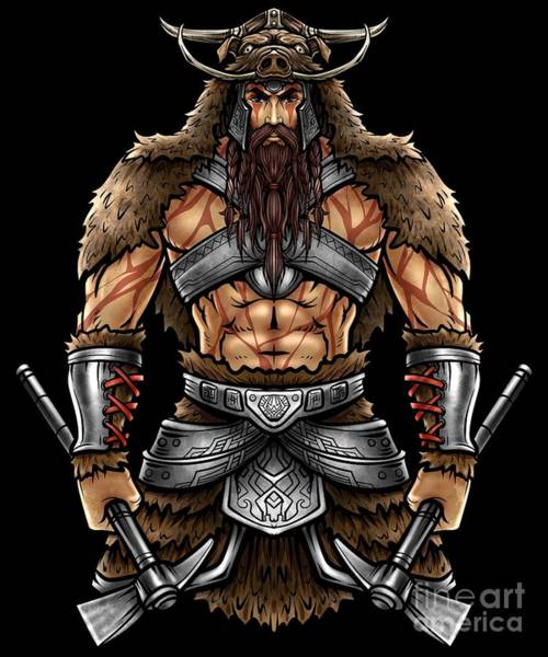 Valkyrie Digital Art - Norseman Berserker Viking Warrior Valhalla Odin by Siegfried Czerny