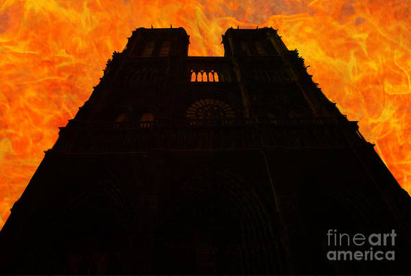 Photograph - Notre Dame Church Silhouette On Fire by Benny Marty
