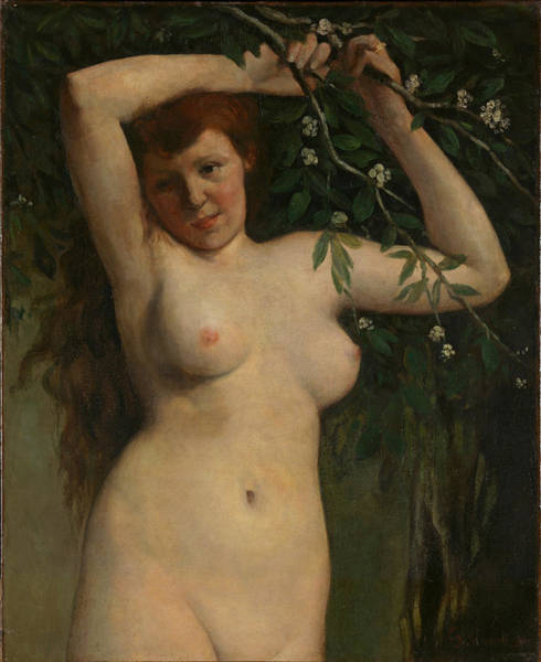 Wall Art - Painting - Nude With Flowering Branch by Gustave Courbet