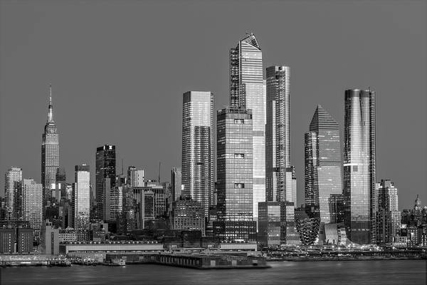 Photograph - Nyc Skyline Blue Hour Bw by Susan Candelario