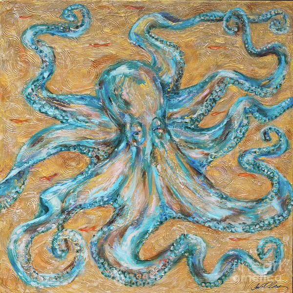 Painting - Octopus Golds by Linda Olsen