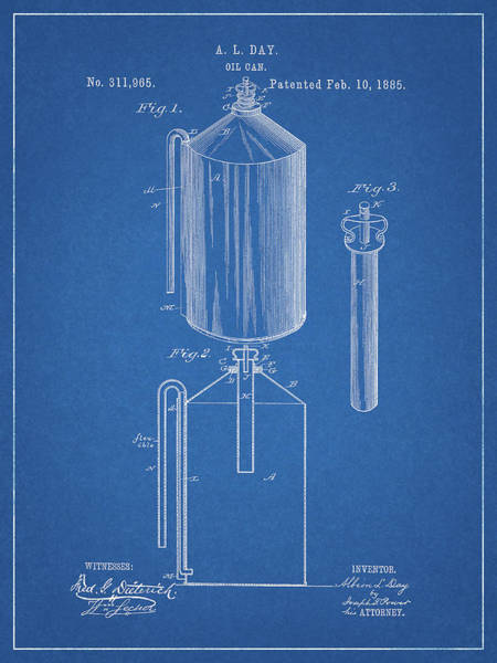 Pump Drawing - Oil Can Patent by Dan Sproul