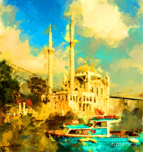 East Asia Wall Art - Digital Art - Oil Paint Istanbul View Bosphorus by Trentemoller