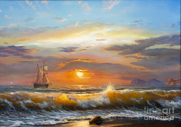 Digital Photograph - Oil Painting On Canvas , Sailboat by Liliya Kulianionak