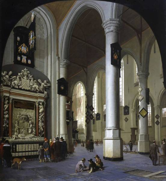 Wall Art - Painting - Old Church In Delft With The Tomb Of Admiral Tromp  by Hendrik van Vliet