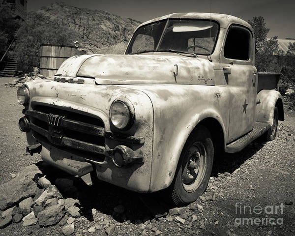 Ghost Town Photograph - Old Dodge Truck In The Desert by Edward Fielding