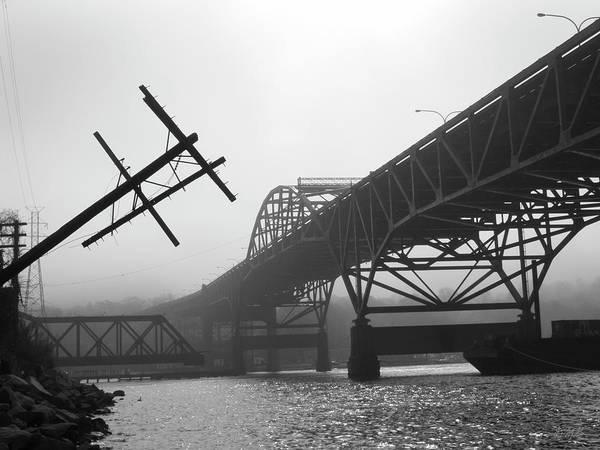 Photograph - Old Sakonnet River Bridge Iv Bw by David Gordon