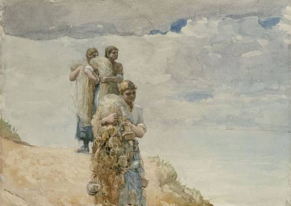 Wall Art - Painting - On The Cliff, Cullercoats by Winslow Homer