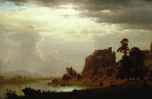 Painting - On The Sweetwater Near The Devil's Gate by Albert Bierstadt