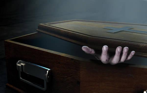 Lid Wall Art - Digital Art - Open Coffin Hand And Crucifix by Allan Swart