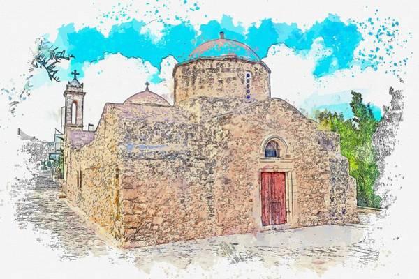 Sultan Ahmet Camii Wall Art - Painting - Orthodox Church In Empa Cyprus -  Watercolor By Ahmet Asar by Ahmet Asar