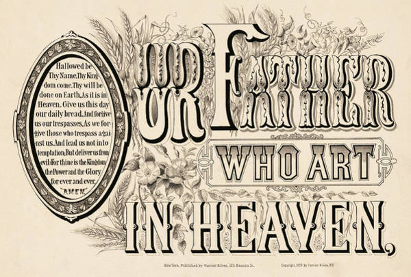 Wall Art - Painting - Our Father Who Art In Heaven, 1876 by American School