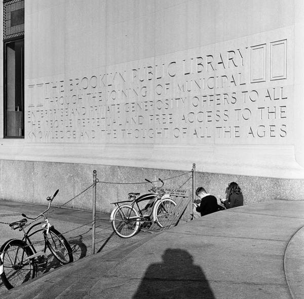 Bicycle Rack Photograph - Outside The Brooklyn Public Library by Rae Russel