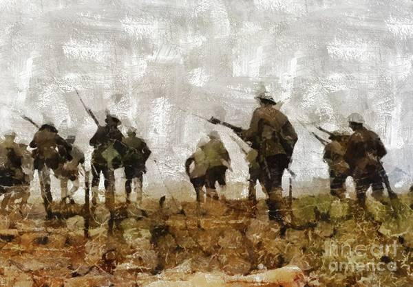 Dday Wall Art - Painting - Over The Top, Wwi by Mary Bassett