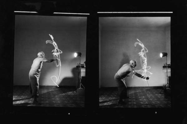 Wall Art - Photograph - Pablo Picasso Works With Light by Gjon Mili