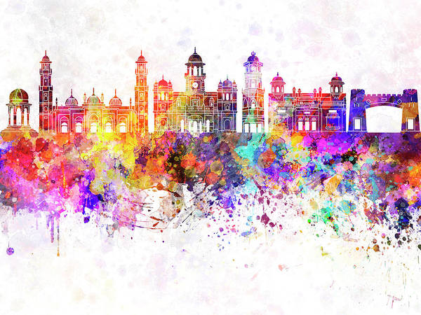 Wall Art - Painting - Peshawar Skyline In Watercolor Background by Pablo Romero