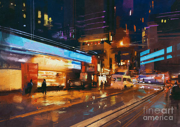 Neon Lights Digital Art - Painting Of Street In Modern Urban City by Tithi Luadthong