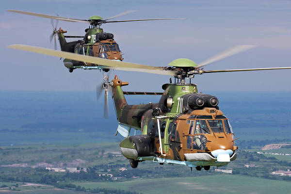 Wall Art - Photograph - Pair Of Eurocopter As-532 Al Cougar by Anton Balakchiev/stocktrek Images