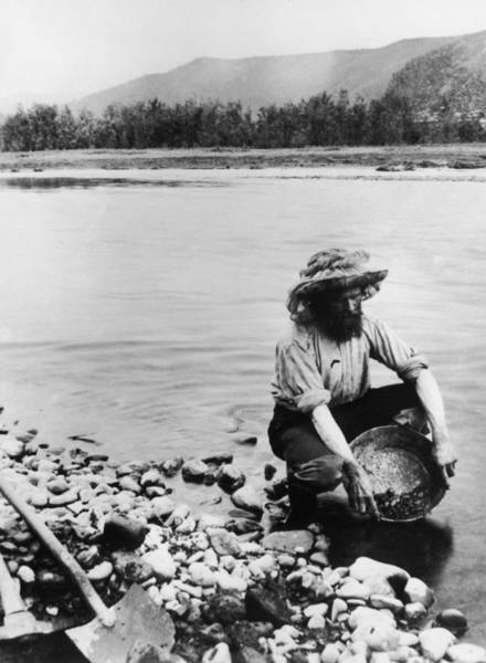 Gold Rush Wall Art - Photograph - Panning For Gold by Hulton Archive