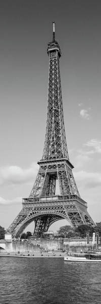 Wall Art - Photograph - Paris Eiffel Tower And River Seine - Panorama Monochrome by Melanie Viola