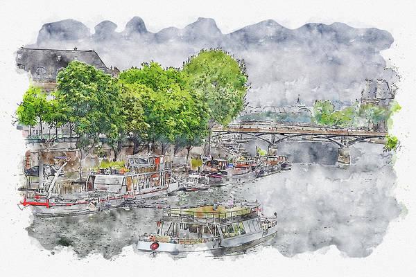 Wall Art - Digital Art - Paris #watercolor #sketch #paris #france by TintoDesigns