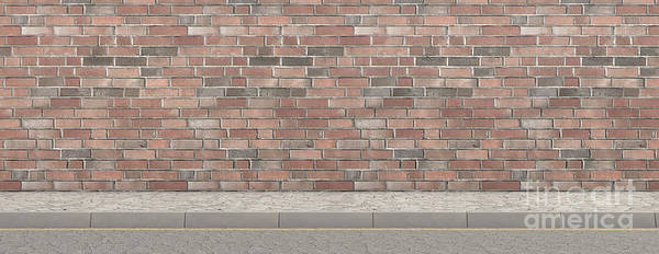 Wall Art - Digital Art - Pavement Street And Wall Backdrop by Allan Swart
