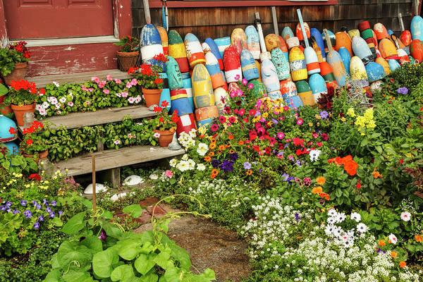 Wall Art - Photograph - Petunias And Buoys Around Stairs by Adam Jones