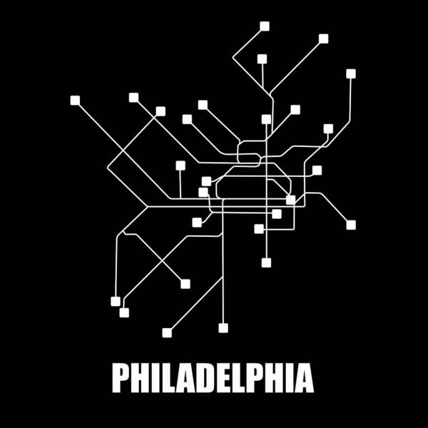 Wall Art - Digital Art - Philadelphia Black Subway Map by Naxart Studio