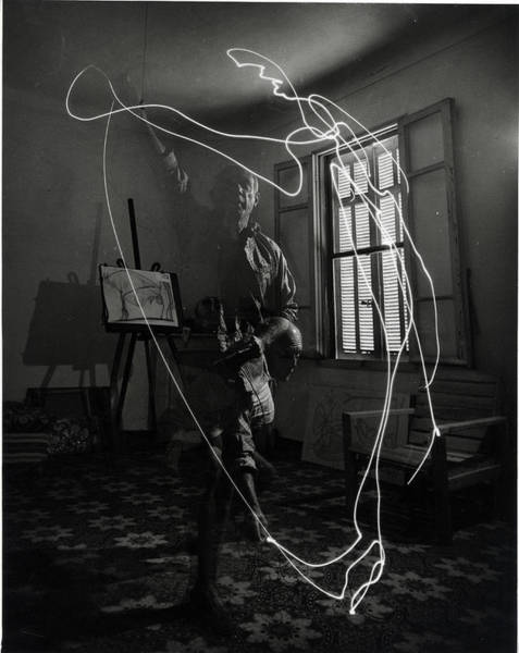Wall Art - Photograph - Picasso Drawing With Light by Gjon Mili