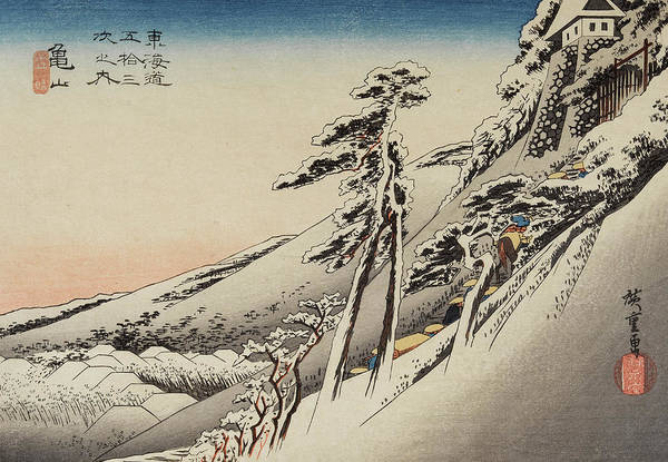 Wall Art - Painting - Pilgrims Ascending Snow - Covered Hillside Toward Temple At Summit by Utagawa Hiroshige