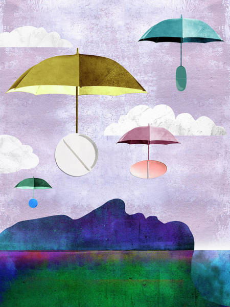 Wall Art - Photograph - Pills On Umbrellas Floating Down To Man by Ikon Images