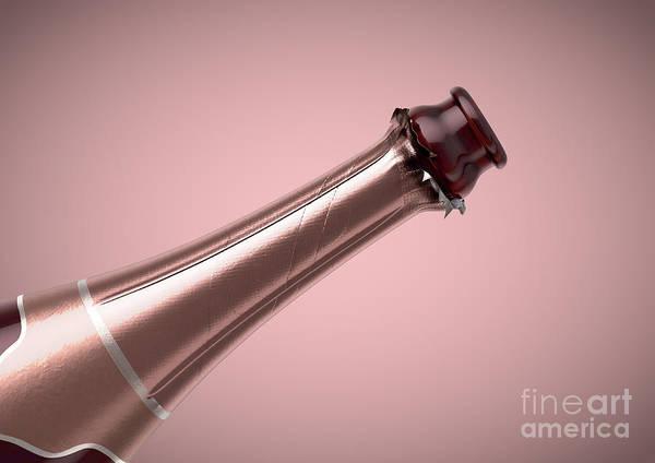 Wall Art - Digital Art - Pink Champagne Bottle Open Neck by Allan Swart