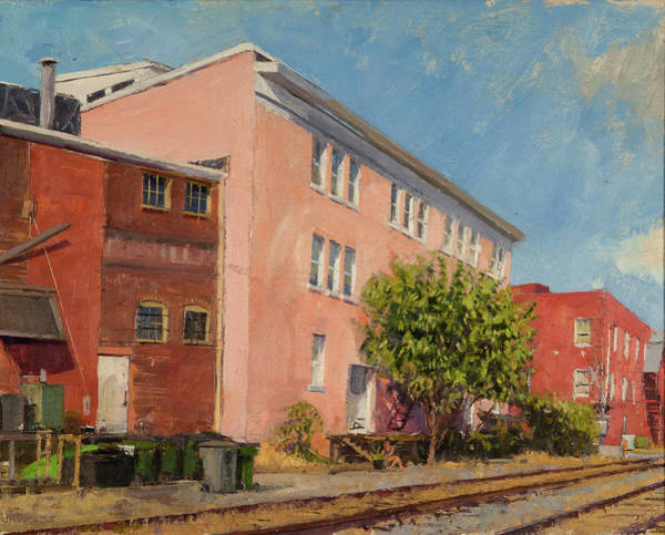 Wall Art - Painting - Pink Warehouse, Downtown Charlottesville by Edward Thomas