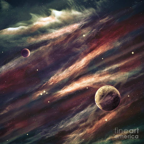 Wall Art - Photograph - Planets Over The Nebulae In Space by Vadim Sadovski