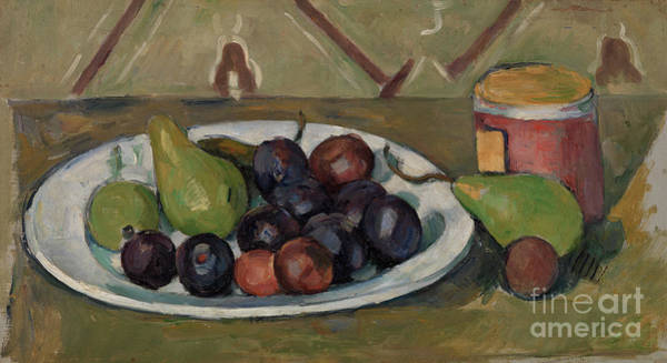 Wall Art - Painting - Plate With Fruit And Pot Of Preserves by Paul Cezanne