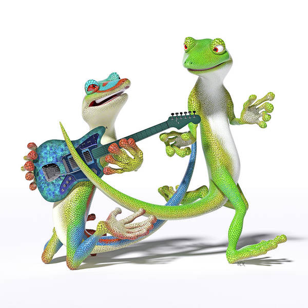 Wall Art - Digital Art - Playing In The Band Geckos by Betsy Knapp