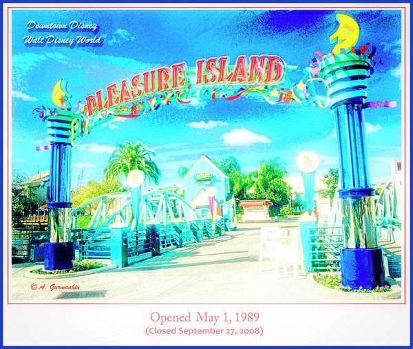 Pleasure Island Sign And Walkway Downtown Disney Art Print