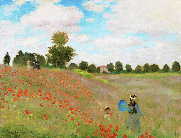 Wall Art - Painting - Poppy Field - Digital Remastered Edition by Claude Monet