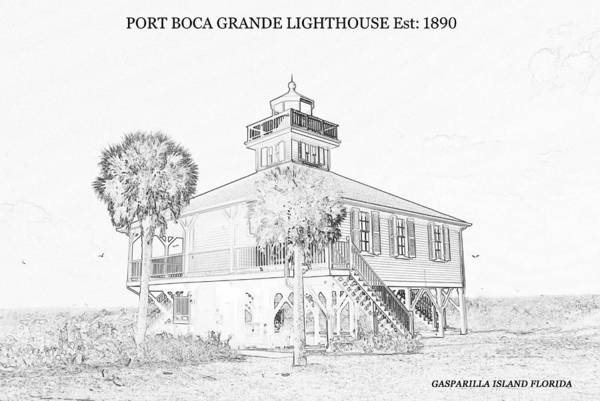 Wall Art - Drawing - Port Boca Grande Lighthouse 1890 by David Lee Thompson