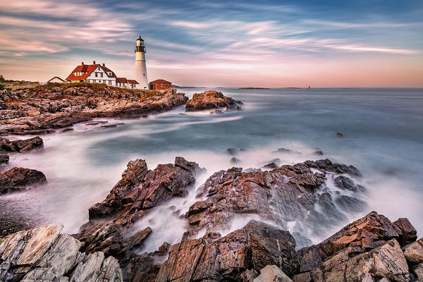 Wall Art - Photograph - Portland Head Light At Dusk, In Maine by Mihai Andritoiu