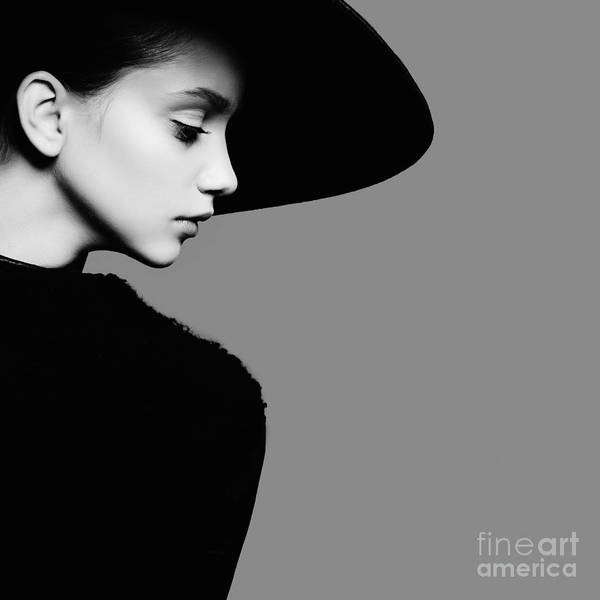 Wall Art - Photograph - Portrait Of Beautiful Girl In Hat In by Yuliya Yafimik