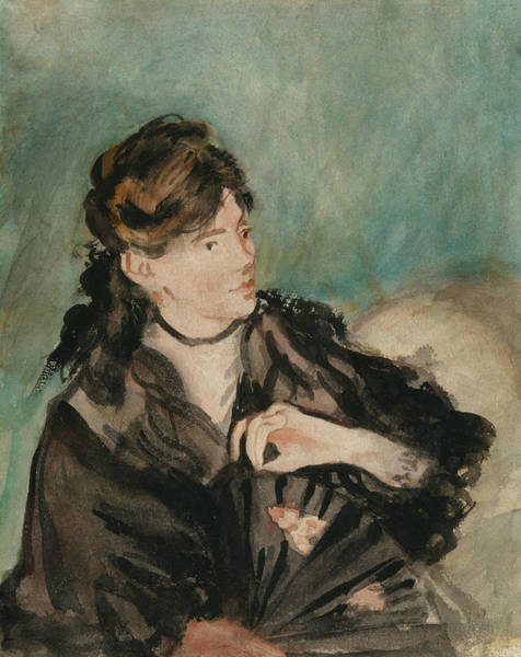 Wall Art - Drawing - Portrait Of Berthe Morisot With A Fan by Edouard Manet