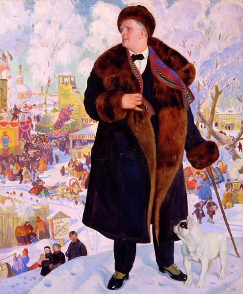 Wall Art - Painting - Portrait Of Fyodor Chaliapin by Boris Kustodiev