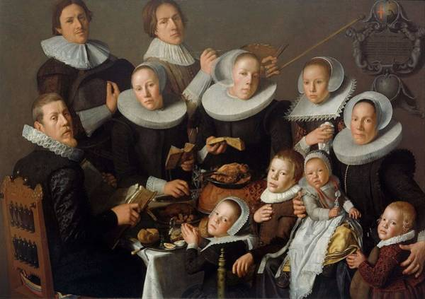Wall Art - Painting - Portrait Of The Painter Andries Van Bochoven And His Family  by Andries van Bochoven