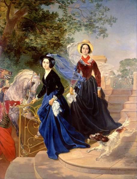 Granddaughter Painting - Portrait Of The Shishmareva Sisters by Karl Bryullov
