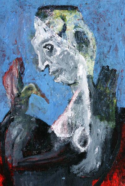 Portrait With A Bird Art Print