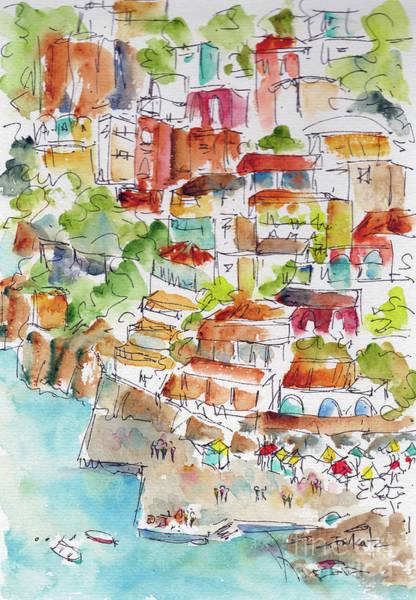 Painting - Positano Italy Hillside And Harbor by Pat Katz