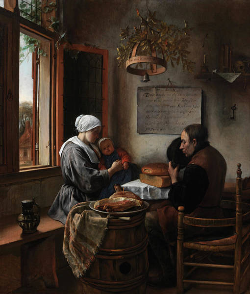 Honest Painting - Prayer Before The Meal by Jan Steen